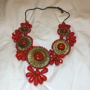 Anthropologie Red Statement Necklace